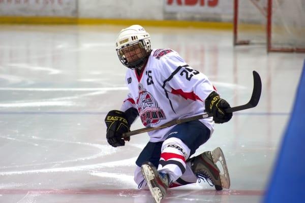 Hockey player stretching