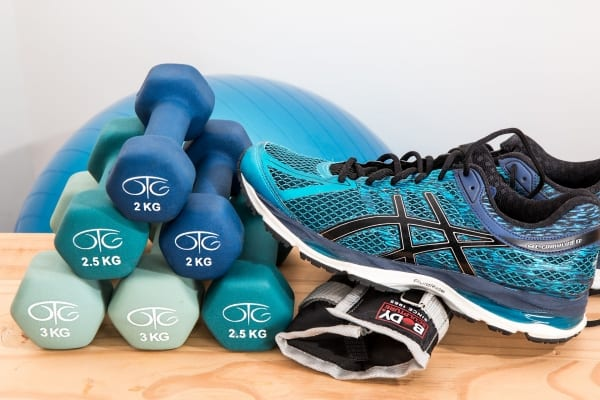 light dumbells and running shoes